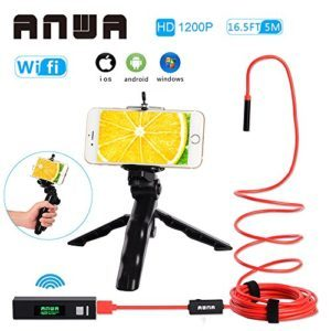 ANWA Professional Handheld Wireless Endoscope, HD 1200P WiFi Borescope Inspection Camera 2.0 Megapixels HD Snake Camera for Android and IOS Smartphone, iPhone, Samsung, Tablet (16.5FT/5M)